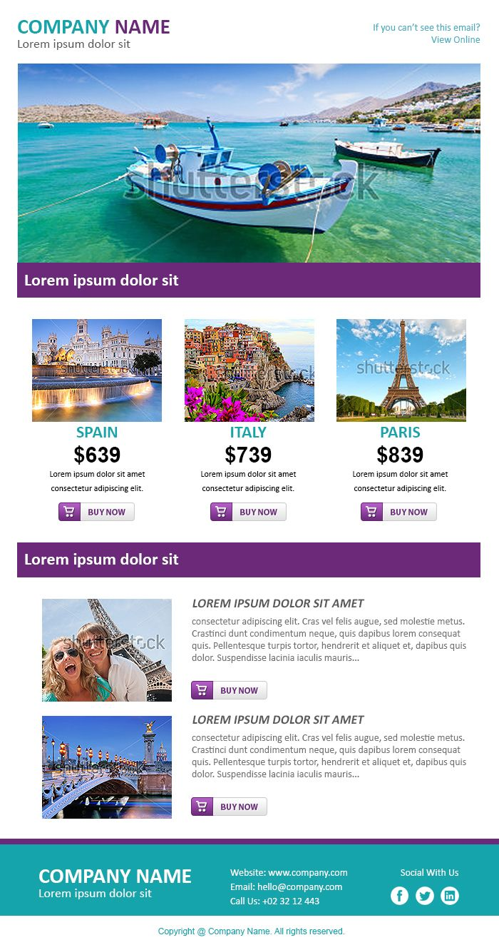 Email newsletter examples business email templates sample for Html edm template