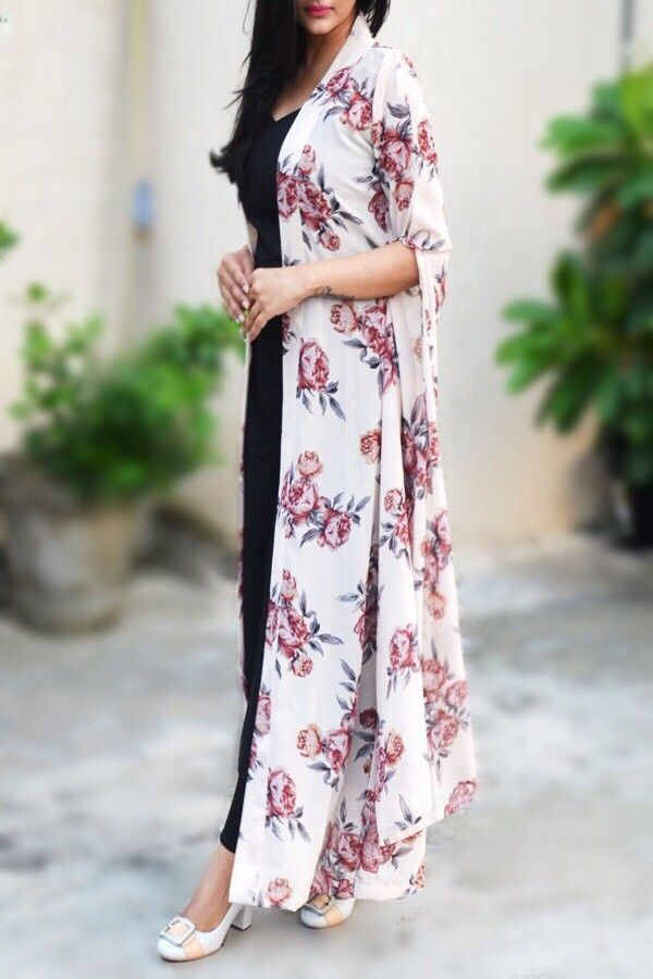 fd1c00edf7a Buy this Off White Georgette Printed Floral Long Shrug by Colorauction only  for rs1499  printed  floral  shrug  colorauction