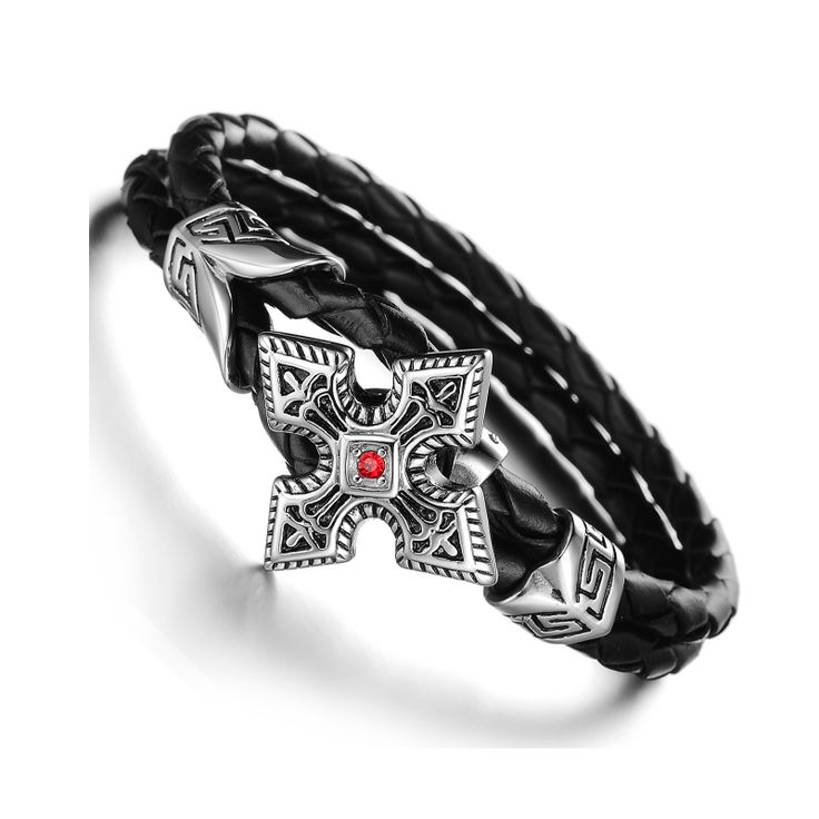 Discount Voucher Special!! >>> ENTER CODE: SUMMER AT CHECKOUT & SAVE FOR EACH AND EVERY ITEM IN OUR SPECIALS CATALOGUE! .... Specials items may be time limited so get yours quick! ....  Arrow Point Cubic Zirconia Cross Bracelet - Stainless Steel & Leather