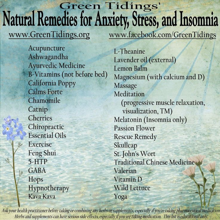 Natural remedies for anxiety, stress and insomnia