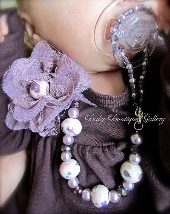 Purple Vintage Flower, with White Pearl Beaded Pacifier Holder ~ I think these are beautiful, perfect for a sweet baby girl~❥