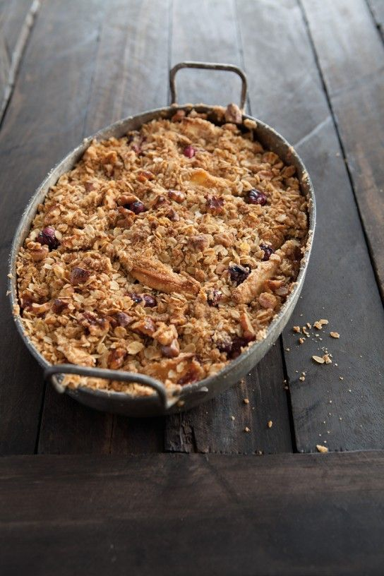 Apple-Cranberry Crisp! Love these two flavors for fall. Serve this at Thanksgiving as a fun alternative to pie.