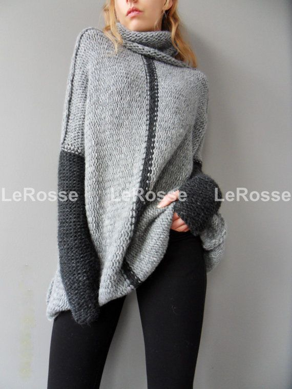 Design rights belong to LeRosse 2015. Stay warm this season and skimp on the scarf - turtlenecks are the best way to bundle ! Can be worn up or folded down. Amazingly soft , cozy and warm. Please allow me 16-18 days to make it ! The color is medium grey and charcoal grey. A new and exciting blow yarn made from soft 72 % Baby alpaca and cozy Merino wool. Its construction is unique, based on the newest yarn technologies, where instead of spinning, the fibres of alpaca and merino are air…