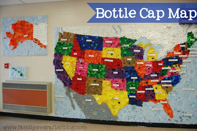 Bottle Cap Map: Bottle Caps, Craft, Maps, Family, Upcycled Bottle, Map Of Usa, Families