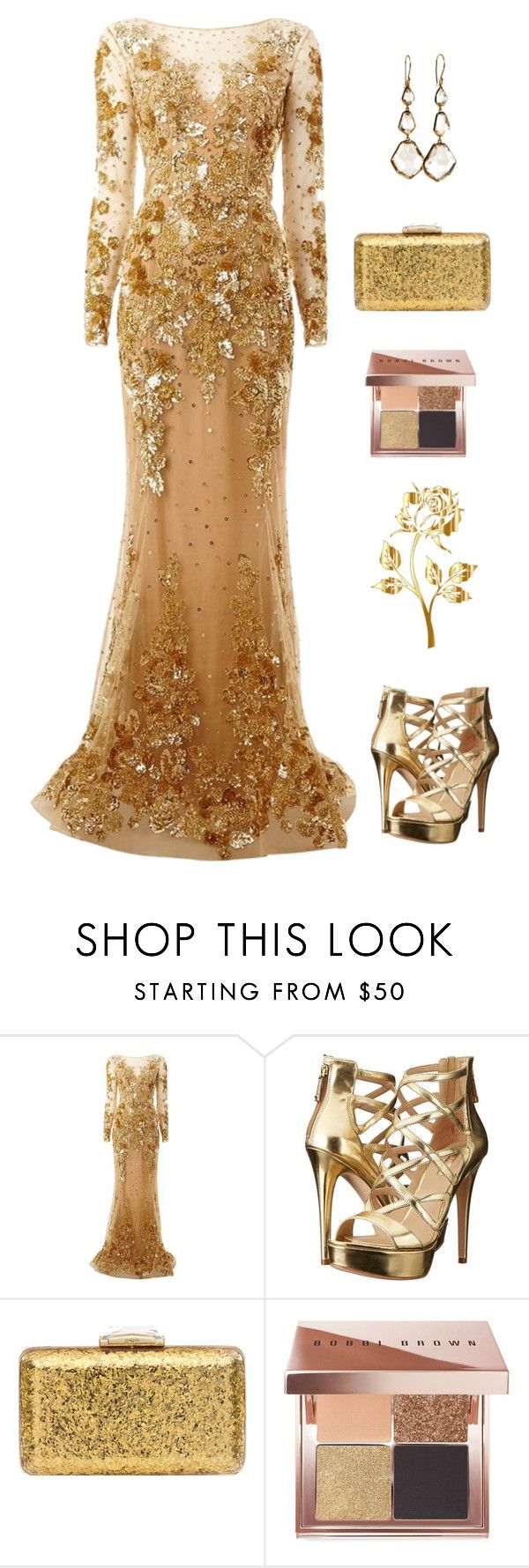 """Gold night"" by cristina-barberis ❤ liked on Polyvore featuring Zuhair Murad, GUESS, KOTUR, Bobbi Brown Cosmetics and Ippolita"