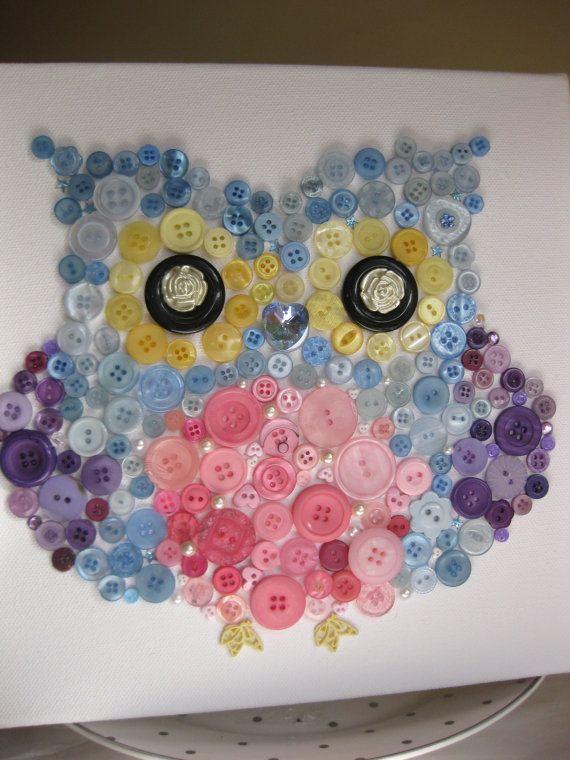 Сова красочный Кнопка холсту 10x10 унисекс стену по CoushiCreations, $ 29.99