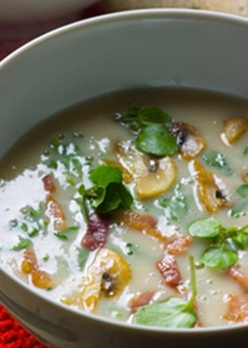 Sopa de feijão branco com agrião e cogumelos