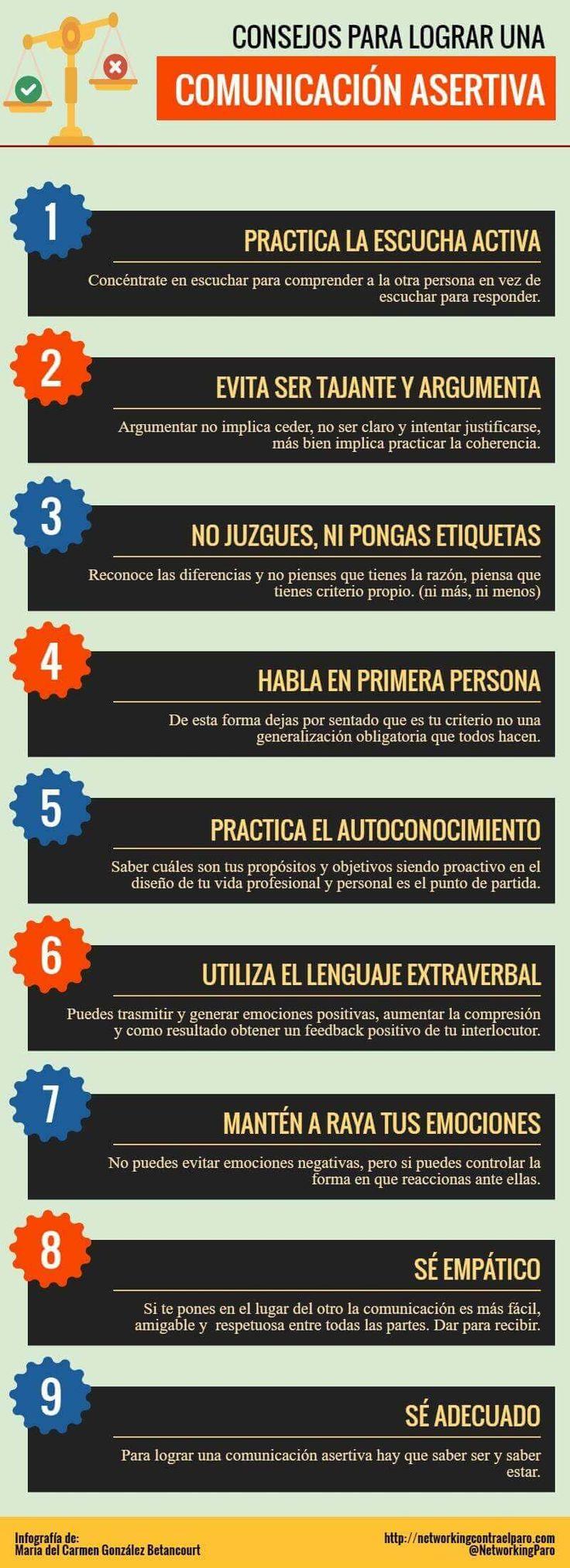Hola: Una infografía con9 consejos para crear una Comunicación Asertiva. Vía Un saludo