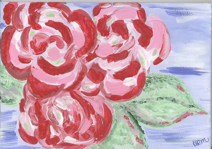 Rosie Flora By: Hope McDonald #daisy #art #canvas #painting #girl #pink #rose #flowers #bouquet  #nursery #artwork  #fairytale #whimsical #décor