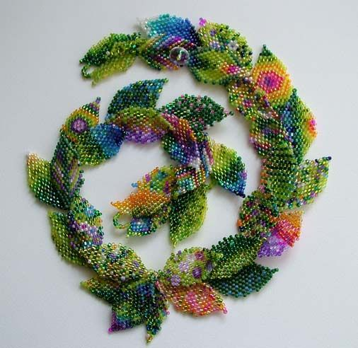 Love the colors and fun patterns in this! Lynn Davy Beading, photography by Joanna Bury