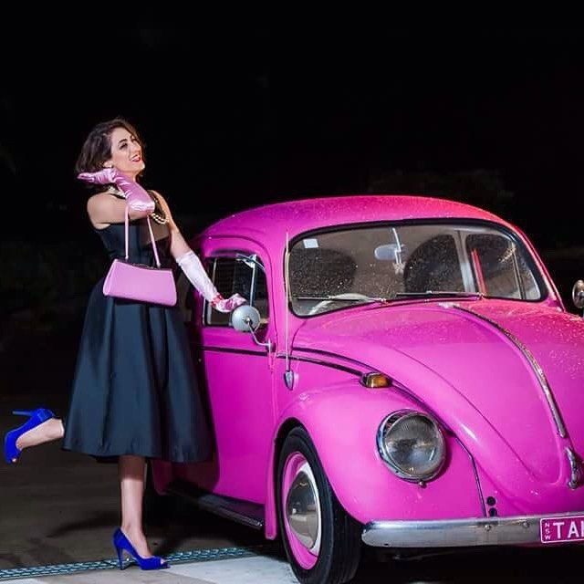 Have a little fun and be different! #lenakasparian #designer #fashion #boutique #after5 #party #collection #50's #chic #oldglam #pink #beetle