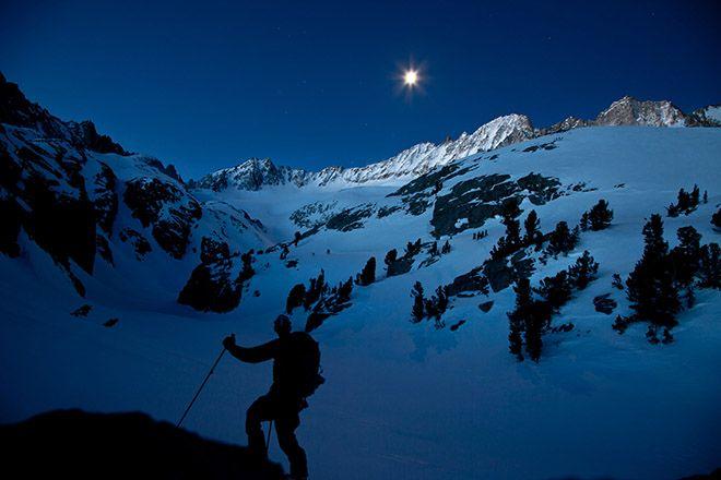 Skiing in California's Sierra Nevada mountains
