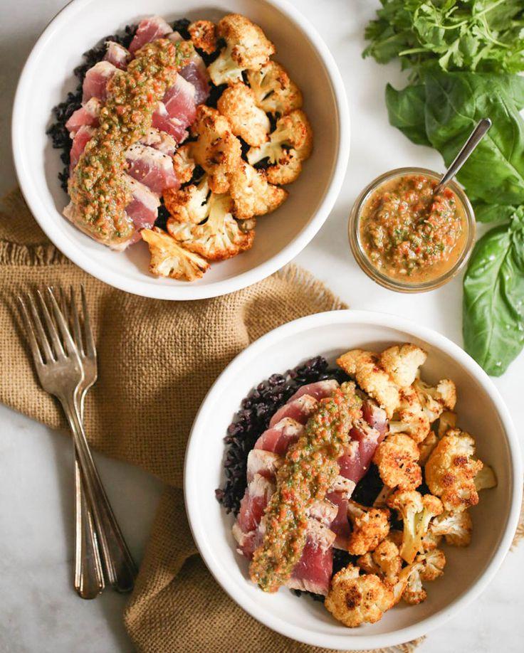 Seared Ahi Bowls with Roasted Cauliflower and Red Chimichurri