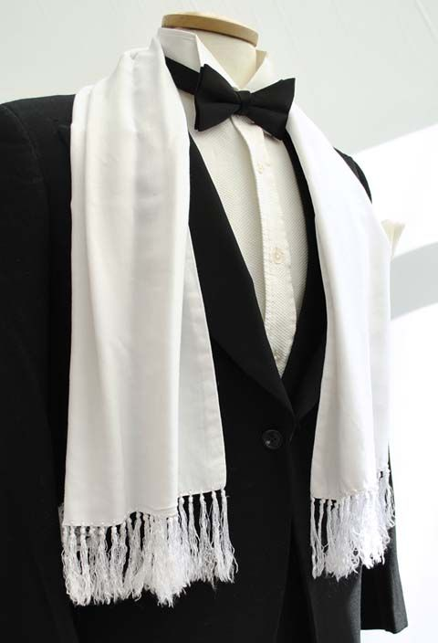 Men S Vintage White Evening Scarf With White Silk Tassels