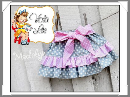 *Madalyn*...... Girl's double ruffle skirt pdf sewing pattern for babies, toddler & girls. All Pattern Sizes included: 6/12m- 18m-24m-2t-3t-4-5-6-7-8 The skirt has a simple elastic waist for easy fit, no buttons or zippers! Can be made with 1 or 2 ruffles. Bow can be tied in front or back. Mix & match fabrics for a variety of cute skirts! ♥ My Patterns give easy step by step instructions with lots of colored photos! ♥ Special instruction sheet on making ruffles included. ♥...