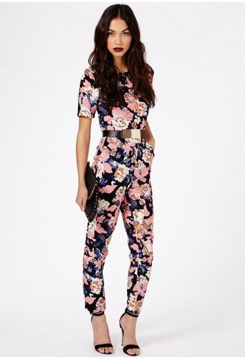 Keiko Floral Print Jumpsuit - Jumpsuits & Playsuits - Clothing - Missguided