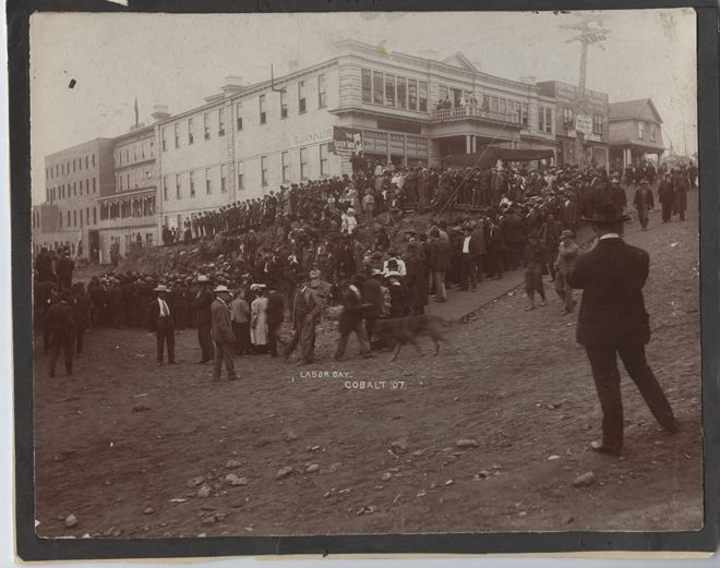 A photograph of a large crowd gathered in Cobalt Square on Labour Day, 1907.