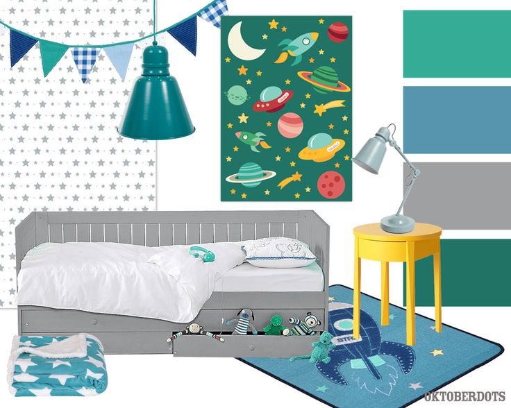 Cool outerspace boys kidsroom collage with colorscheme