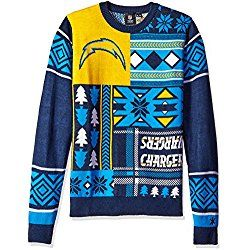 NFL San Diego Chargers Patches Ugly Sweater, Blue, Medium
