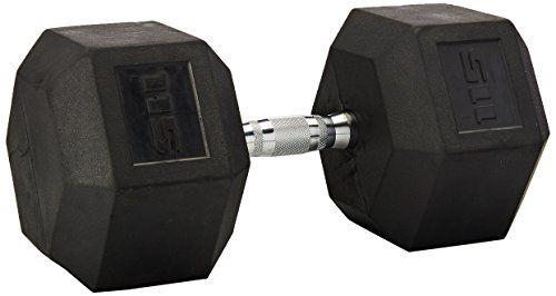 Cap Barbell d'haltères hexagonaux avec revêtement en caoutchouc avec poignée chromée, Unique: Fabriqué en fonte de fer avec un revêtement…