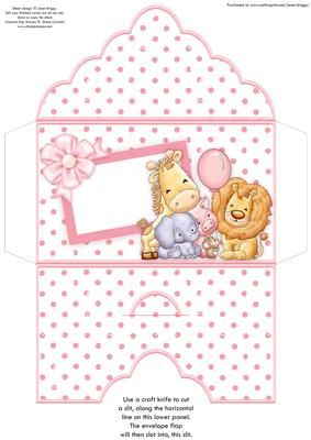 ANIMAL CREW Baby Girl or Girls Birthday Money Wallet on Craftsuprint designed by Janet Briggs - Money wallet or gift voucher holder, for a new baby girl, or a young girl's birthday.Features the animal crew with balloon. (Coordinates with 8x8 card, see multilink below) - Now available for download!