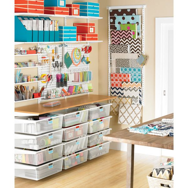 Craft Room - Container Store White Elfa Deluxe