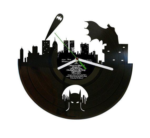 Batman Vinyl Record Clock Batman gift Dark by puffpuffdesign