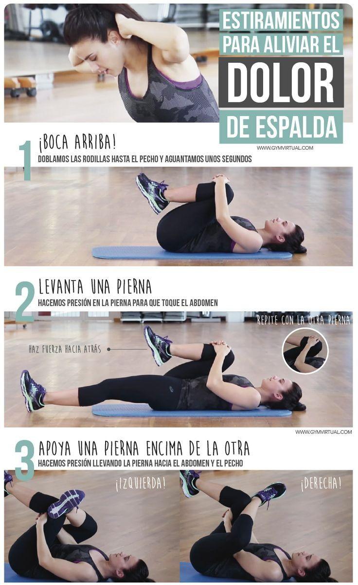 6 estiramientos para el dolor de espalda. #infografia #estiramientos #espalda