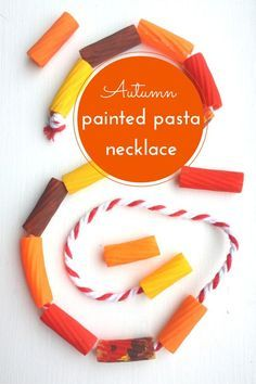 Painted Pasta Necklace Autumn Craft