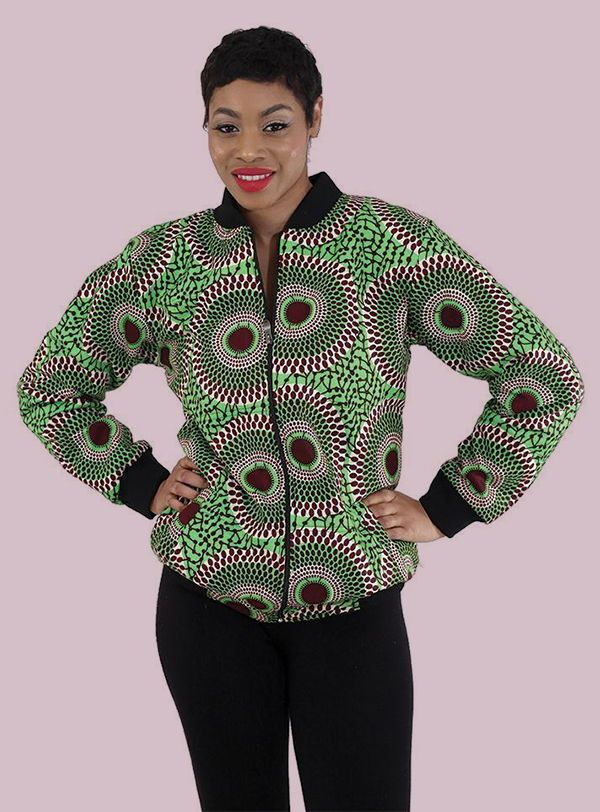 African Bomber Jacket in Green Kente Print  African Jacket Made In Africa