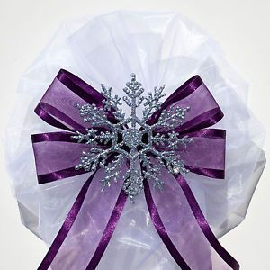 6 pcs Silver SNOWFLAKE on Eggplant Purple WINTER WEDDING PEW BOWS DECORATIONS