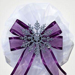 6 pcs Silver SNOWFLAKE on Eggplant Purple WINTER WEDDING PEW BOWS DECORATIONS