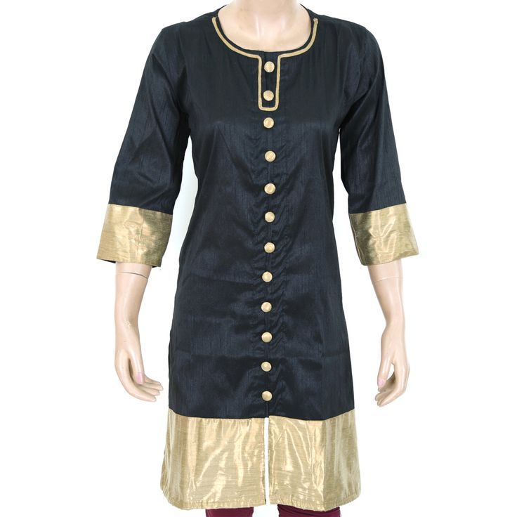 Indian Ethnic Black Semi Raw Silk Ladies Top / Kurti / Kurta - Brocade Patchwork - Women's Dress - All Sizes 903831 by theaonline on Etsy