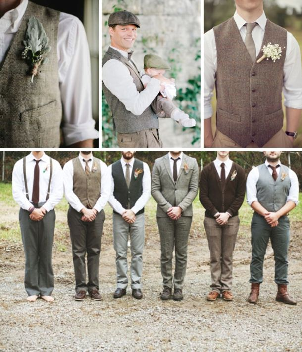 Grooms & Groomsmen in Tweed Suits: Waistcoats | SouthBound Bride | http://www.southboundbride.com/well-groomed-country-gentlemen | Credit: 12- Jillian Zamora Photography via The Lovely Find; 13- Nadia Meli via Chic Vintage Brides; 14- Grace Photography/Edinburgh Woollen Mill via One Fab Day; 15- Ulmer Studios Photography via Ruffled