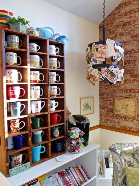 Deborah's Room Made Lovely // neat idea for storing coffee mugs
