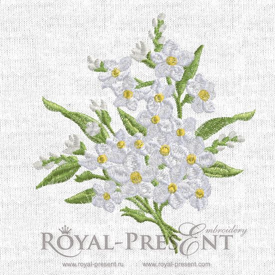 Machine Embroidery Design - Forget-me-not - 2 sizes