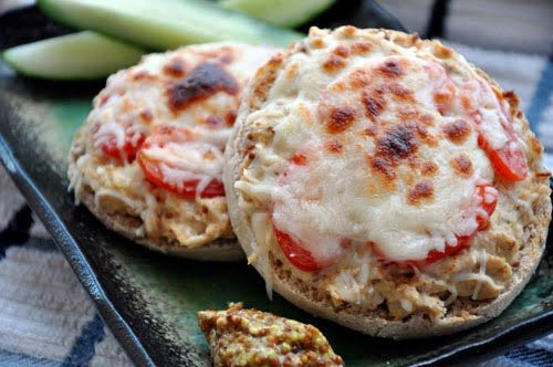 Tuna Melt - make with gluten free english muffin and daiya mozzarella cheese