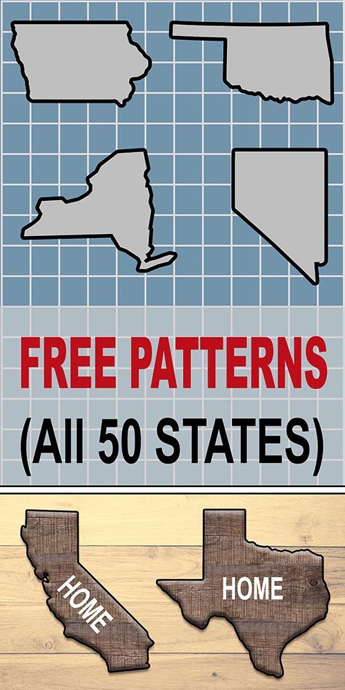 State Outlines, Maps, Stencils, Patterns: Printable Shapes of all 50 States