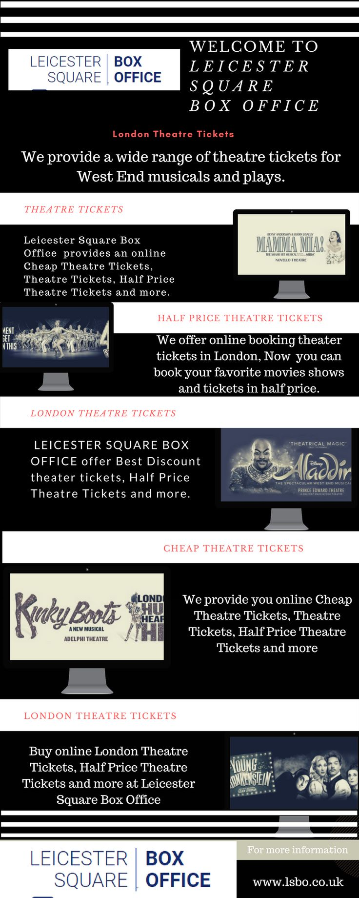 Find the Best Half Price Theatre Tickets available for selected shows, Don't Miss Out, Choose your favorite shows nearby. Book Now! Click here to get more information. https://www.lsbo.co.uk