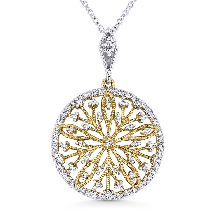0.22ct ct Round Cut Diamond Flower Pendant & Chain Necklace in 14k Yellow & White Gold - AM-DN4341 - AlfredAndVincent.com