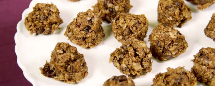 No bake and healthy. Make them into a bar for homemade granola bar type of a snack. Yum!