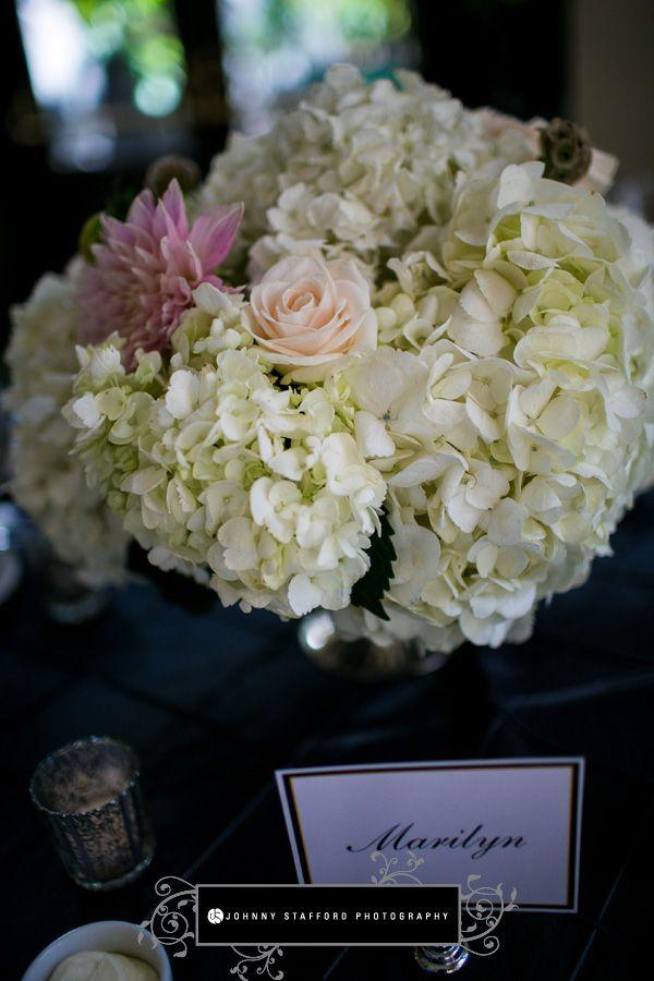 Addyrosedesign.com | Johnnystaffordphotography.com | White, peach and pink Hydrangea, rose and dahlia centerpieces