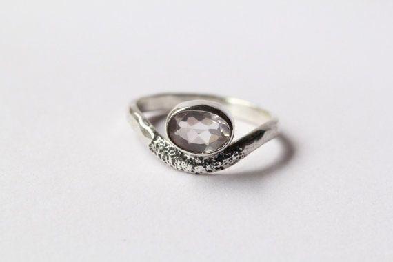 Personalizzato quarzo rosa anello, anello in argento, anello, anello di Boho, anello Midi, accatastamento anello, anello di pietra preziosa, anelli di Boemia