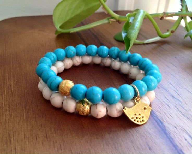 "ITEM: Boho Stretch Set (x2 bracelets) STONES: Magnesite 8mm beads SIZE: Medium (6.5"")  https://m.facebook.com/JediJewellery/"