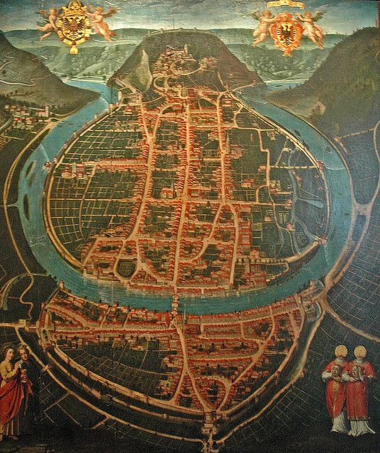 Old Map of Besancon,  the capital and principal city of the Franche-Comté region in eastern France.