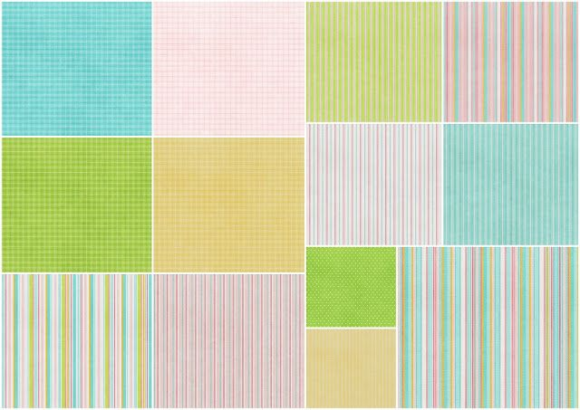 Striped Papers of  the Sweet Spring Clip Art.