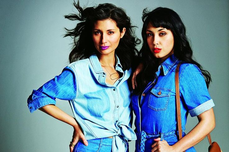 Bestselling cookery writers Jasmine and Melissa Hemsley, authors of 'The Art of Eating Well', wearing denim. Stylist: Prue White. Hair: Stephen Beaver at Jed Root using Kérastase. Make-up: Angela Davis Deacon at Factory using Dior Spring Look Kingdom of Colours and Capture Totale Dreamskin. Photographer: Alex Bramall.