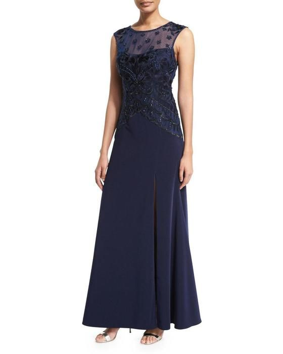 Buy the Embroidered Illusion Sheath Gown in Navy N5444 by Sue Wong at CoutureCandy.com, the largest selection of Sue Wong dresses available online.