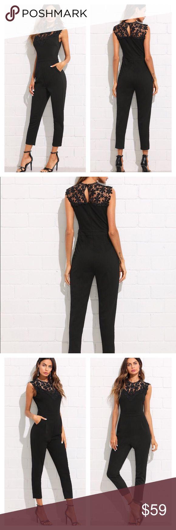 Black Guipure Lace Insert Romper Elegant…