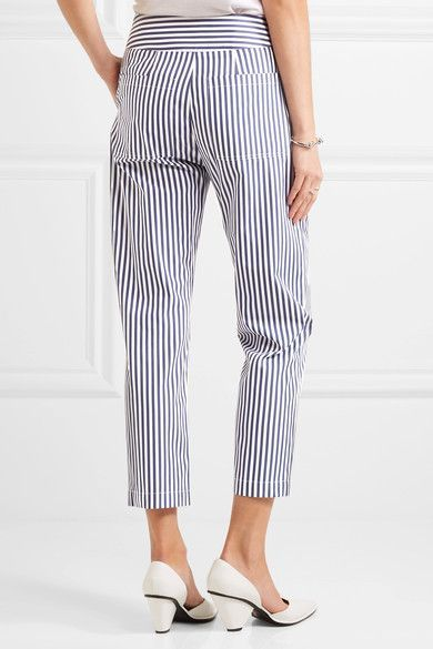 Adam Lippes - Cropped Striped Cotton Slim-leg Pants - Navy - US12